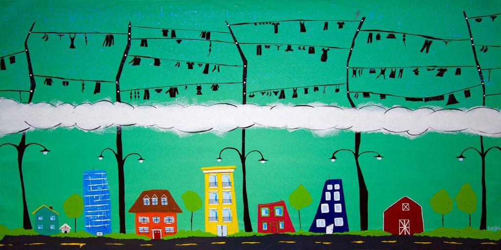 pintura artista chileno Andre Ubilla ropa tendida critica social